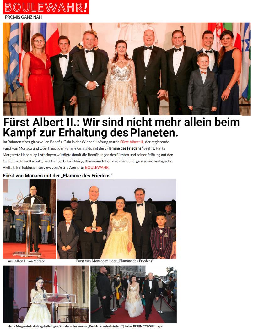 Boulewahr Magazin - Fürst Albert II Flame of Peace Ehrung