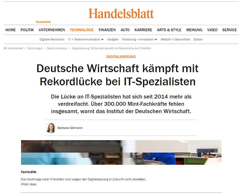 Deutsche Wirtschaft- Fachkräftebedarf-IT